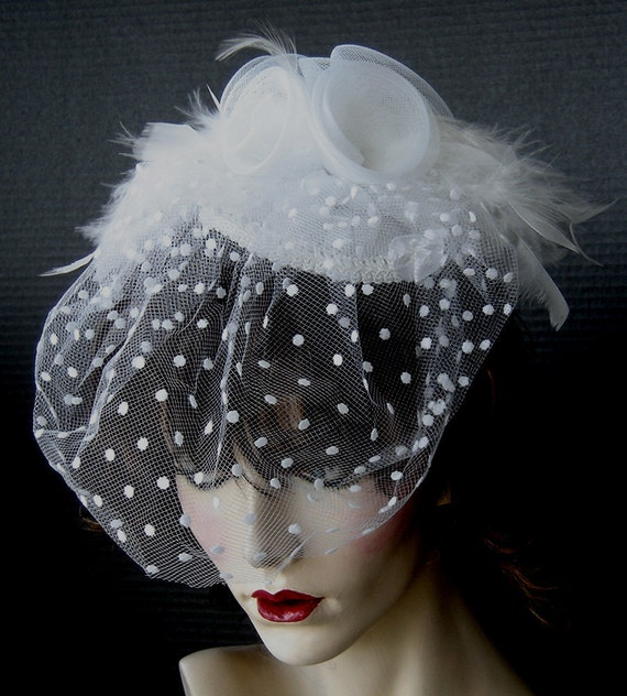 White Fascinator Headpiece With Dotted Veil