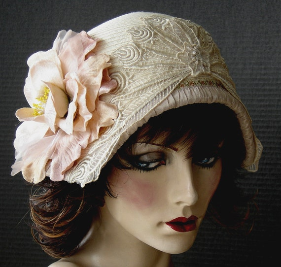 On reserve till June 1st for Kathleen - Ivory Cream Summer Hat With Velvet Peach Accents