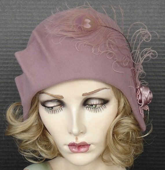 1930's Style Cloche In Rosy Mauve Velour Felt