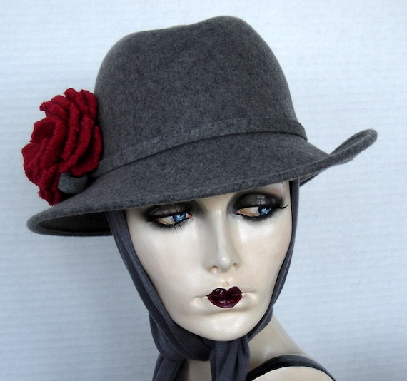 Fedora Style Gray Wool Felt Small Brim Hat With Attached Neck Scarf