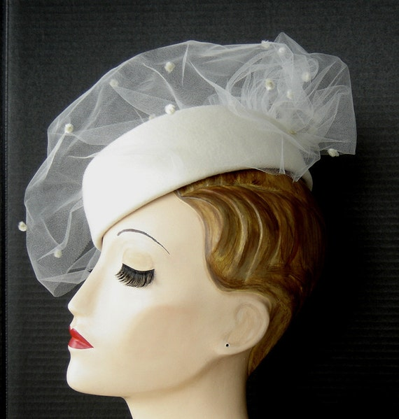 Reserved for Philippa - Mother Of The Bride Creamy White Pillbox Style Hat With Veil