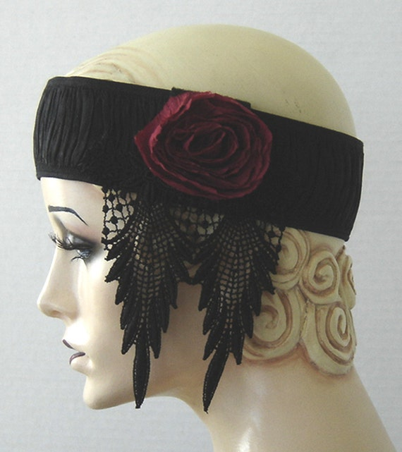Gatsby Flapper Headband Red Rose Dripping With Black Lace