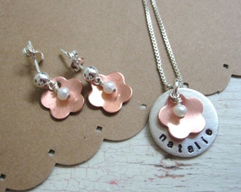 Flower Arrangement .... Girls Hand Stamped Personalized Name Necklace and Earring Set