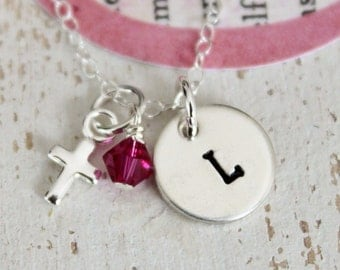 Personalized Little Girls Necklace ...... Sterling Silver Initial and Cross Baptism Communion with Birthstone