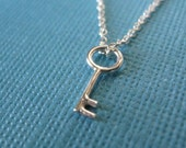 Tiny Key Necklace Sterling Silver
