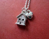 Tiny House and Heart Necklace Sterling Silver