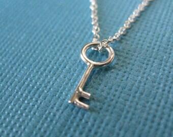 Tiny Key Necklace Sterling Silver