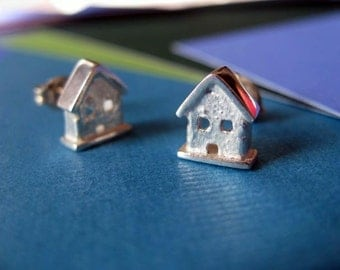 Tiny House Stud Earrings Sterling Silver Posts