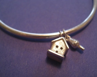 House and Tree Bangle Sterling Silver