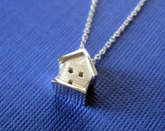Sterling Silver Tiny 3D House Necklace