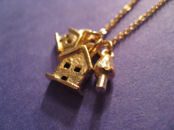 SALE Necklace - Was 44.00. Tiny and Teeny House and Tree Gold Plated Necklace