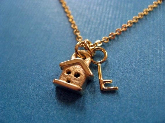 SALE Necklace.  Was 36 - Teeny House and Key Necklace 14k gold plated