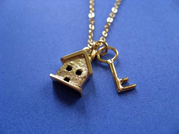 SALE Necklace. Was 38.00 - Tiny House and Key Necklace 14k Gold Plated