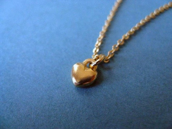 Sale Necklace. Tiny Heart Charm Necklace. 14k Gold Plated Brass. Was 30.00