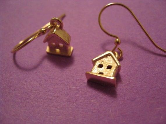 Sale Earrings.  Was 34.00 - Tiny House Gold Plated Dangle Earrings