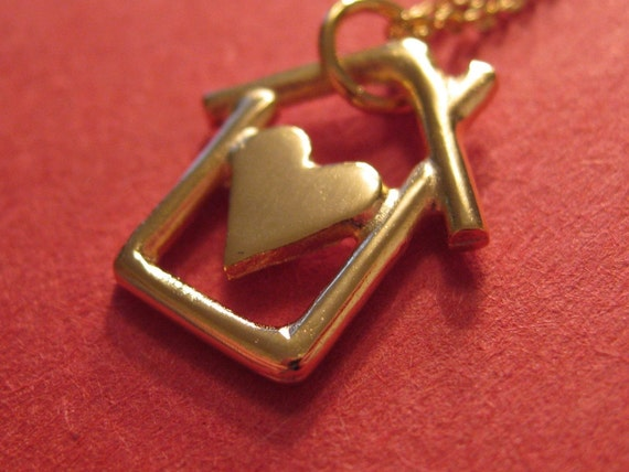 SALE Necklace - Was 36.00. Gold Plated Home is Where the Heart Is Necklace