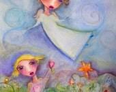 My Angel My Friend FOLK ART WHIMSICAL Print