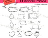 Digital Frames Hand Drawn Doodle Clipart
