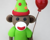 Monkey Business Sock Monkey Birthday Party Cake Topper Art Doll