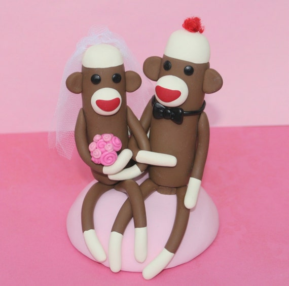 Sock Monkey Wedding Cake Topper Sitting 4 inch Custom Made in Your Colors