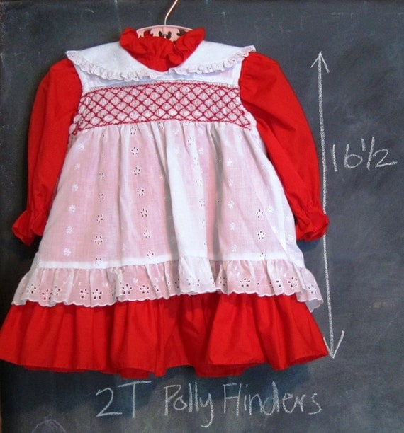 HOLD-do not purchase  Vintage Toddler Girl Red Dress - 2T, Polly Flinders, Smocking, Embroidered, Pinafore