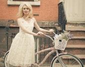 Soft light - Lace bridal birdcage veil, blusher - Made to Order