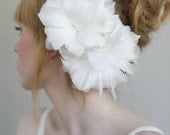 Bridal feather flower headpiece, hair comb - Flourish double feather flower - Style 014 - Made to Order