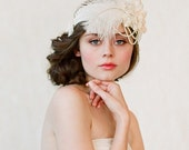 Wedding headband, bridal hair piece, feather, pearl - Flapper inspired bridal headband - Style 148 - Made to Order
