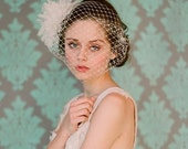Bridal birdcage veil - French bandeau veil with silk organza flower bomb - Style 106 - Made to Order