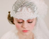 Bridal lace cap with veil, french and vintage inspired - Style 103 - Made to Order