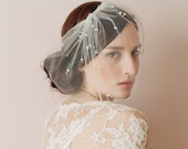 Bridal tulle veil with pearl beads - Mini tulle veil with pearls - Style 212 - Ready to Ship