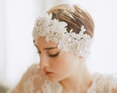 Bridal headpiece, lace and crystal headband - Oversized rhinestone and lace headpiece - Style 247 - Made to Order