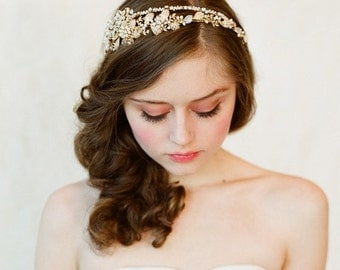 Bridal crystal, pearl and bead headband - Double band golden tiara - gold or silver - Style 147 - Ready to Ship
