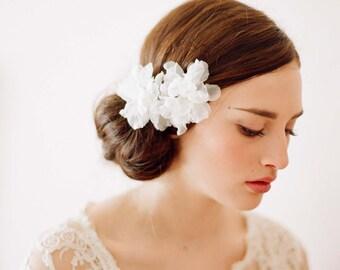 Bridal silk hair flowers, small - Silk organza blossom pair - Style 209 - Ready to Ship