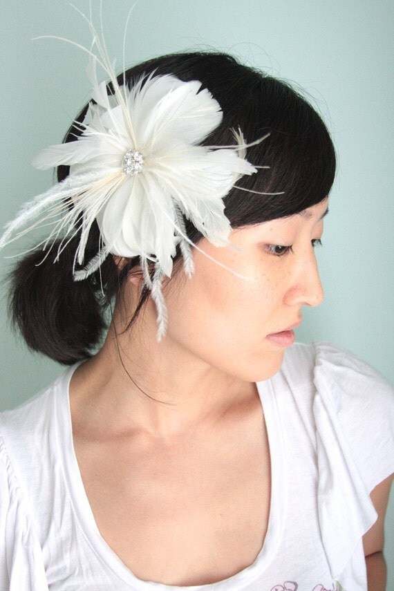 Awake - Bridal hair piece, feather fascinator, ivory and white - Made to Order