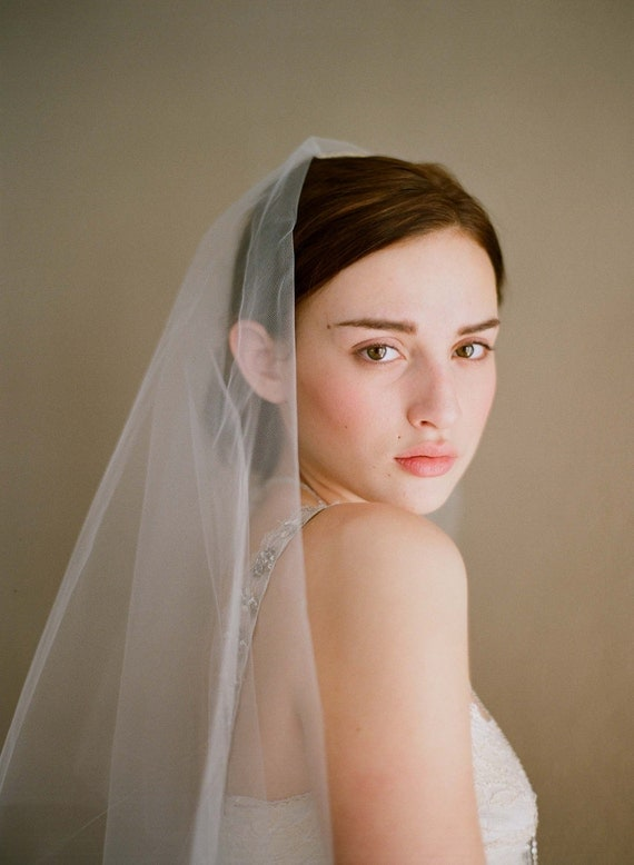 Fingertip veil, bridal sheer veil - Simple and sheer single layer long veil - Style 221 - Ready to Ship