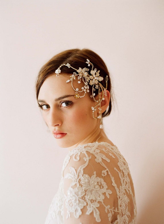 Bridal rhinestone headpiece, hair comb - Dazzling twisted rhinestone and pearl headpiece - Style 245 - Made to Order