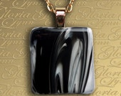 Fused Glass Pendant Jewelry - Shades Of Darkness - Z71