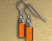 Orange Dichroic Earrings - Fused Glass - Orange Itty Bitty - ER451