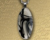 Fused Glass Pendant Jewelry - Black Or White - Z158