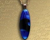 Fused Glass Pendant Jewelry- Singing The Blues - Z43