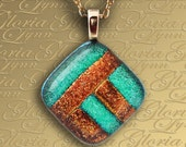 Dichroic Fused Glass Jewelry Pendant - Country Roads - LB45