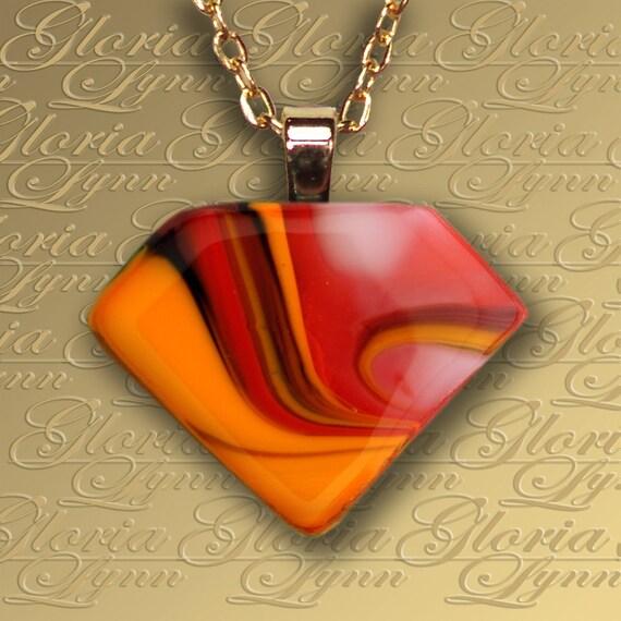 Fused Glass Pendant Jewelry - Riviera Paradise - Z156