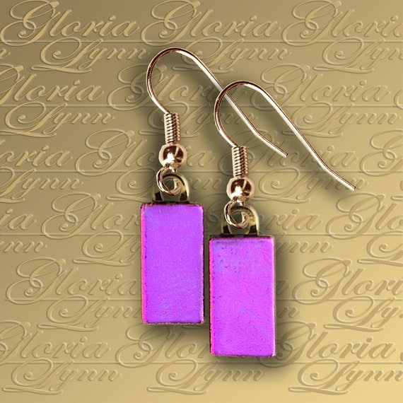 Dichroic Fused Glass Earrings - Hot Pink - ER413