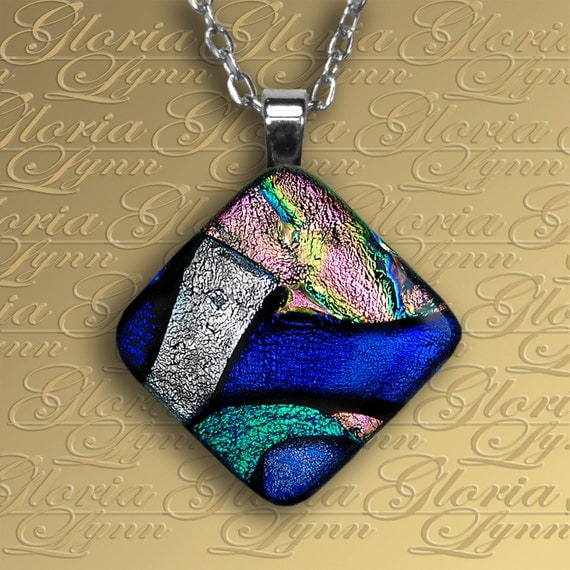 Fused Dichroic Glass Pendant Jewelry - Wishing You Were Here - DIA28