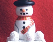 Snowman Keepsake Box, Holiday Decoration, Christmas Trinket Box, Hand Painted Winter Box, 3 D Wooden Snowman Jewelry Box