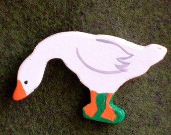 Goose Pin, White Duck Pin, Painted Foul Pin, Hand Painted Brooch, Child's Goose Pin, Wood Pin