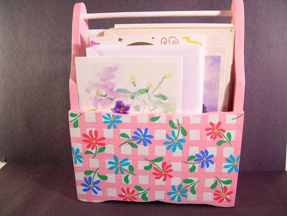 Wooden Holder For Silverware or Note Cards, Painted Napkin Holder, Picnic Holder, Note Card Holder, Floral Holder