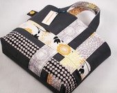 Tote Bag, Twill, Gray, Cotton Print, Weave, Applique, Yellow, Gray, Gold, Flower, Dot, For Women, Stylish Bags by SewArtsy on Etsy