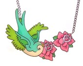 Swallow and Roses Tattoo Necklace